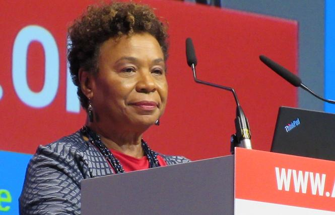 Congresswoman Barbara Lee (D-Oakland) spoke at the 22nd International AIDS Conference in Amsterdam. Photo: Liz Highleyman
