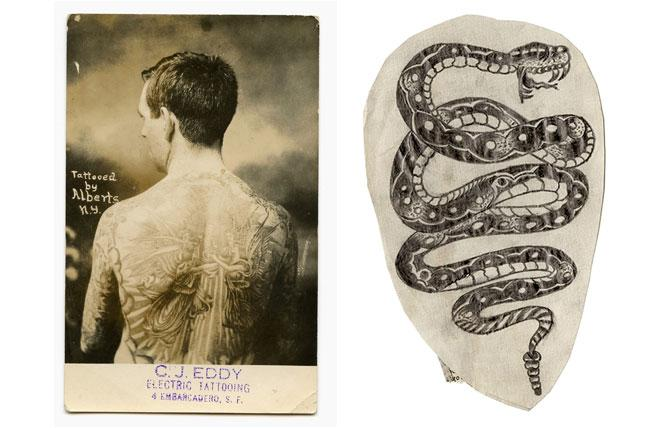 "LEFT: Unknown, Backpiece by ""Lew the Jew"" Alberts on San Francisco tattooer C.J. ""Pop"" Eddy's promotional flyer (c. 1920). Photo: Courtesy of Don Ed Hardy  RIGHT: ""Lew the Jew"" Alberts, tattoo flash (c. 1950-53). Pencil on paper. Photo: Courtesy of Don Ed Hardy"