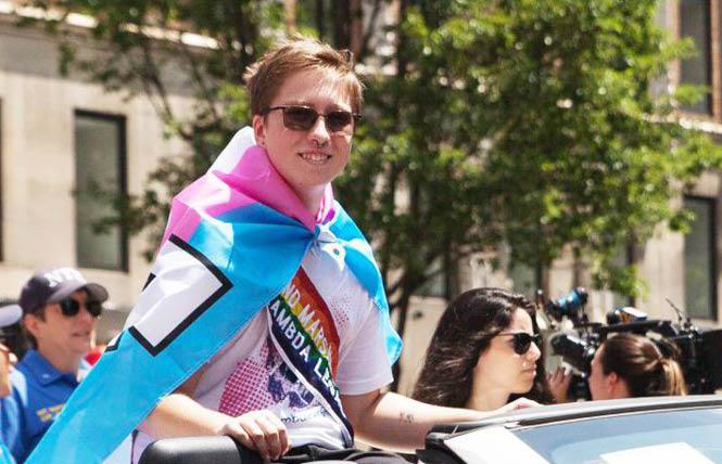 Florida high school student Drew Adams rode with the Lambda Legal Defense and Education Fund's contingent in June's New York City Pride march. Photo: Courtesy Lambda Legal
