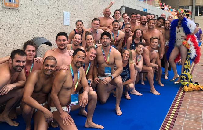 SF Tsunami water polo teams had a terrific Gay Games, with the recreational team taking gold, and the competitive squad winning silver. Photo: Courtesy Scott Shafer