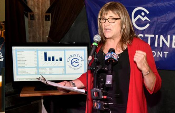 Christine Hallquist speaks to supporters Tuesday night in Burlington. Photo: Courtesy Reuters