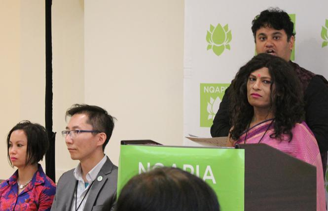 Joya Sikder of New Bridge of Relationships, a transgender organization in Bangladesh, addressed reporters at a news conference held by the National Queer Asian Pacific Islander Alliance in San Francisco. Photo: Heather Cassell