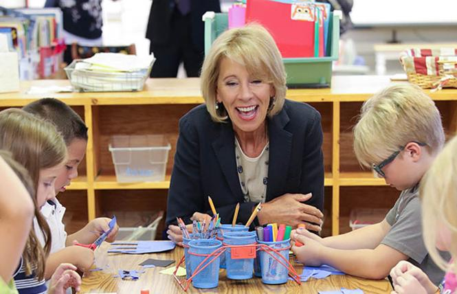 "Education Secretary Betsy DeVos toured a Wyoming school last fall as part of her ""rethink school"" tour; this year, she has denied at least five complaints by transgender students who have faced unlawful discrimination and harassment in public schools."