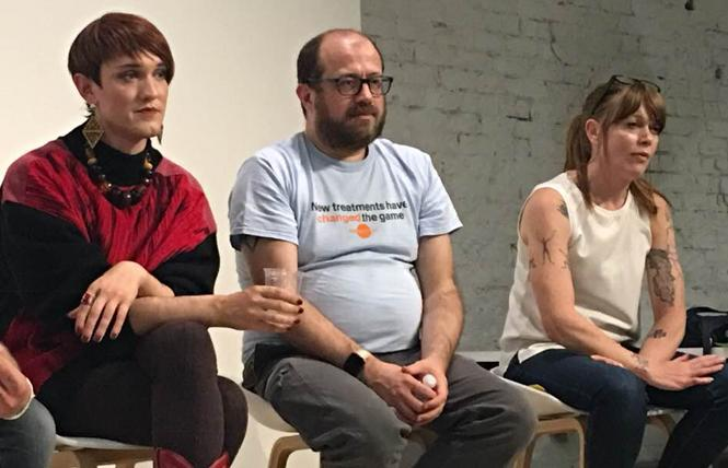Miss Ian Callaghan, Pierre-Cedric Crouch, Ph.D., and Terry Morris discussed street drug use and supervised injection sites at a recent San Francisco AIDS Foundation-sponsored panel. Photo: Sari Staver