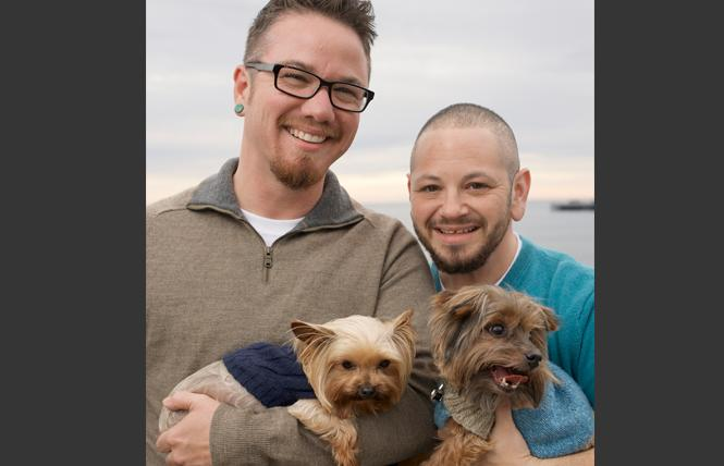 Adam Spickler, right, with his husband, Scottie, and their dogs, Penny and Jack. Photo: Courtesy Adam Spickler