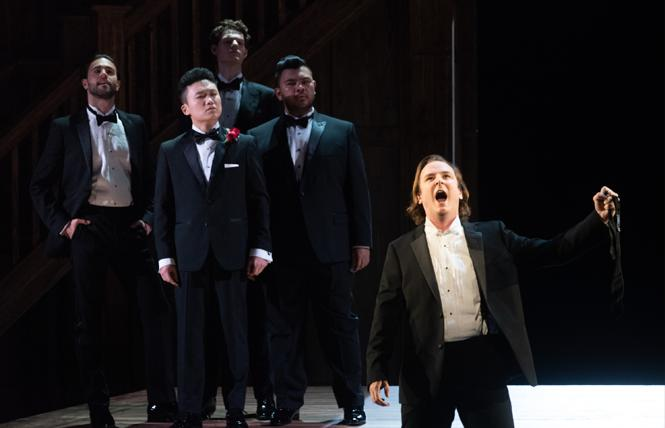 Brian Michael Moore (front), Jacob Scharfman, Zhengyi Bai, Ted Allen Pickell, Charles Sy in the Merola Grand Finale, presented at the War Memorial Opera House in San Francisco. Photo: Kristen Loken