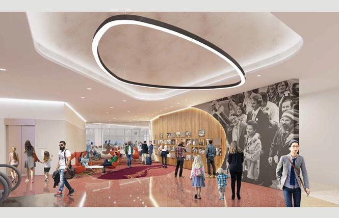 A rendering of the Central Inglenook in the new Terminal 1 shows a wall of photos of Harvey Milk, as well as larger images. Photo: Courtesy SFO