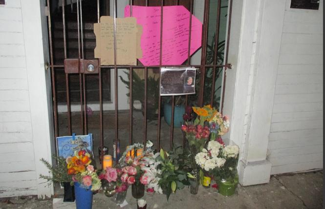 A growing memorial lies outside Brian Egg's Clara Street home. Photo: Ed Walsh