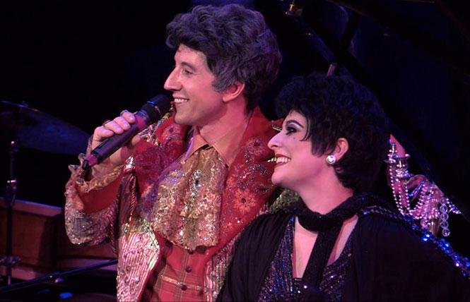 David Saffert and Jillian Snow Harris as Liberace and Liza Minnelli. photo courtesy of Feinstein's at the Nikko