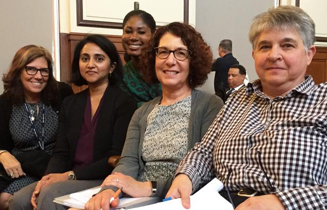 Health department officials Tracey Packer, left, Dr. Susan Philip, Nikole Trainor, Dr. Susan Buchbinder, and Susan Scheer, Ph.D., spoke about the city's new HIV surveillance report at Tuesday's Health Commission meeting. Photo: Liz Highleyman