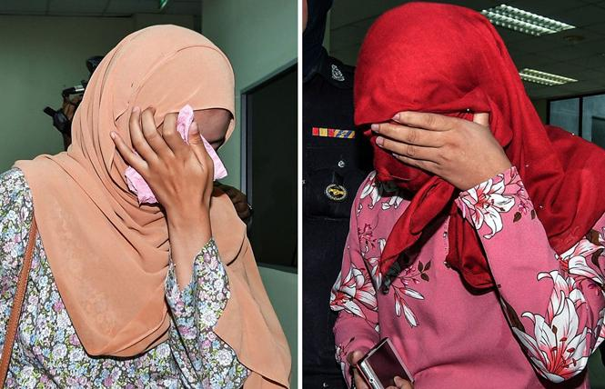 Two women were each caned six times after pleading guilty to homosexual activity at the Sharia High Court in the state of Terengganu, Malaysia, on Monday. Photo: EPA, via Shutterstock