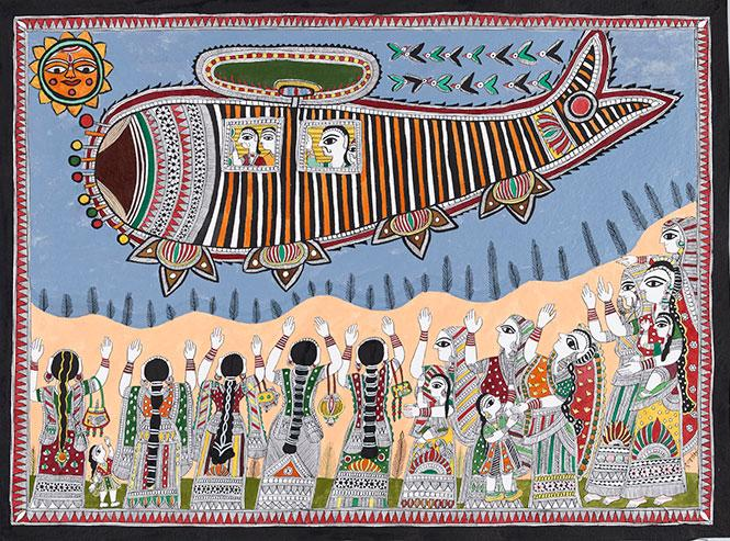 """Prime Minister Modi arriving in a village via helicopter"" (2015) by Dulari Devi. Ink and colors on paper. Bihar  state, Mithila region, India. Asian Art Museum. Photo: Asian Art Museum"