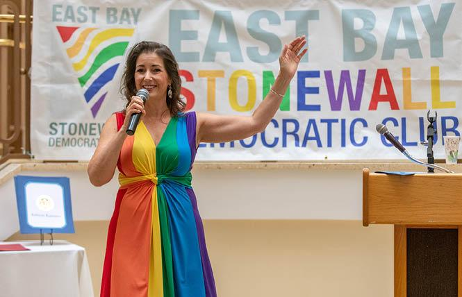 Oakland Mayor Libby Schaaf, who wowed the crowd at the East Bay Stonewall Democratic Club's recent Pride Breakfast when she donned a custom-made rainbow-themed dress, has secured the club's endorsement for her re-election bid. Photo: Jane Philomen Cleland