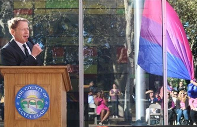 Santa Clara County Supervisor Ken Yeager spoke before raising the bi flag at last year's inaugural event in San Jose. Photo: Courtesy Ken Yeager