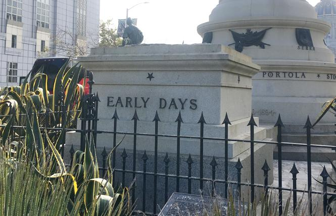 "After over a century, ""Early Days"" — a statue many considered to be racist and inflammatory — no longer stands in San Francisco. Photo: Christina A. DiEdoardo"