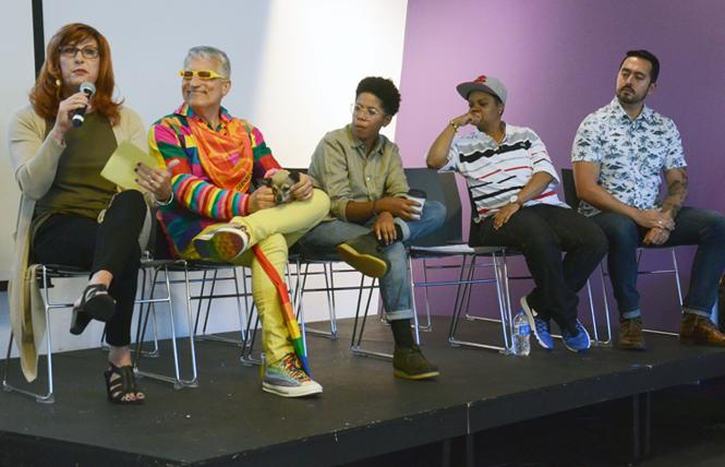 New members of the San Francisco Pride Board of Directors Suzanne Ford, left, Bruce Beaudette, Kerby Lynch, Carolyn Wysinger, and Manuel Alejandro Perez answered questions prior to their election during the annual general membership meeting September 15. Photo: Rick Gerharter