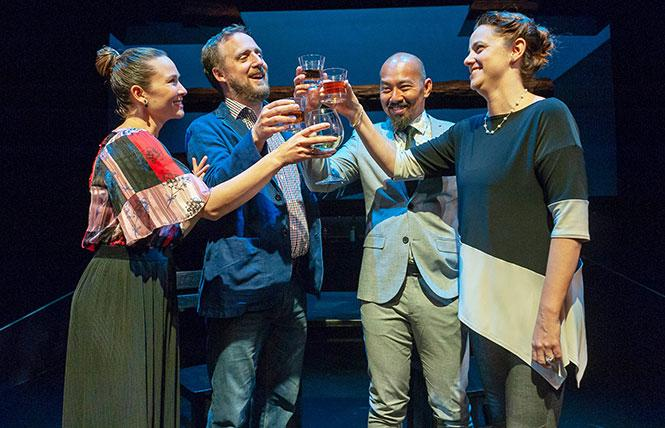 """Samantha (Charisse Loriaux), Ben (Cassidy Brown), Daniel (Jomar Tagatac), and Lindsey (Katie Rubin) in """"You Mean to Do Me Harm"""" at San Francisco Playhouse. Photo: Ken Levin"""