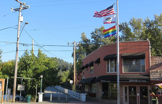 The rainbow flag in Guerneville Plaza was flying last weekend. Photo: Charlie Wagner