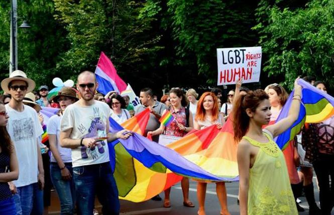 Romanian LGBTs and allies march in Bucharest Pride 2014. Photo: Courtesy Bucharest Tips