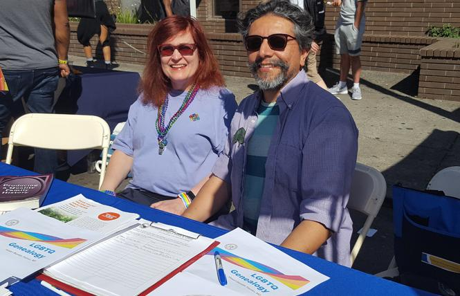Victoria Kolakowski, left, and Stewart Blandón Traiman staffed the California Genealogical Society's table at Oakland Pride September 9. Photo: Cynthia Laird