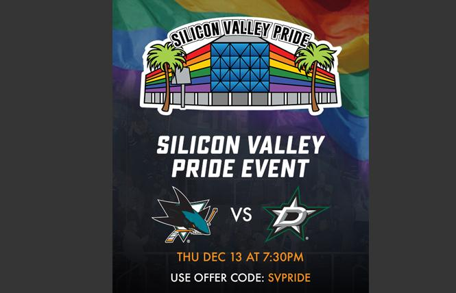 The San Jose Sharks will host a Pride Event in December. Photo: Courtesy San Jose Sharks