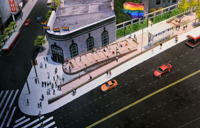 The revised design of Harvey Milk Plaza was presented during a reception in the Castro Thursday, October 4. Photo: Rick Gerharter
