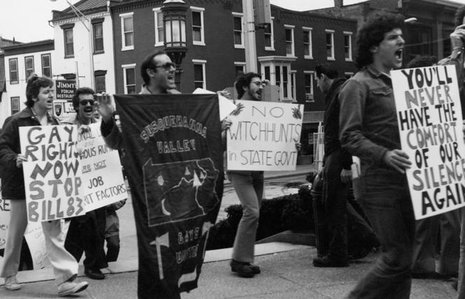 The first gay rights demonstration held in Harrisburg protested anti-gay legislation introduced into the Pennsylvania Legislature in 1977 in reaction to Governor Milton J. Shapp's executive orders. Photo: Bari Weaver/Courtesy the History Project of the LGBT Center of Central PA, Archives and Special Collections, Dickinson College, Carlisle, PA.
