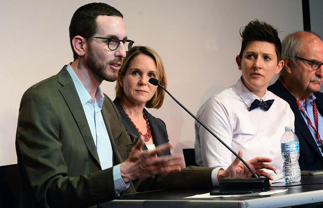 State Senator Scott Wiener, left, speaks at an October 11 informational panel backing a statewide master plan for aging, where he was joined by Sarah S. Steenhausen, the SCAN Foundation's senior policy adviser; Openhouse Executive Director Karyn Skultety, Ph.D.; and Tom Nolan, manager of special projects at the San Francisco Department of Aging and Adult Services. Photo: Rick Gerharter