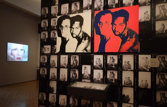"Keith Haring and Juan Dubose, as captured by Andy Warhol (pictured in drag in the background, left), included in ""Contact Warhol: Photography Without End"" at the Cantor Arts Center. Photo: Rick Gerharter"