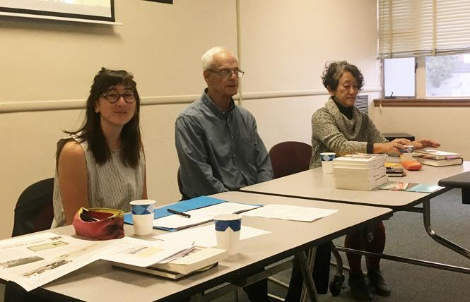 "Lucy Asako, left, Leilah Danielson (on screen), Charles Wollenberg, and Karen Tei Yamashita participated in a panel October 10 on ""The Question of Resistance and Accommodation"" at the Oakland Library. Photo: Christina DiEdoardo"