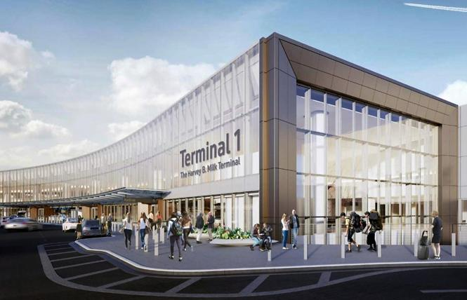 Some leaders think the proposed signage for Terminal 1: The Harvey B. Milk Terminal minimizes Milk's name. Photo: Courtesy SFO