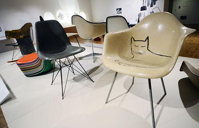 Molded fiberglass chairs were an innovative design by the Eameses, including one (right) with a drawing by illustrator Saul Steinberg, a friend of the couple. Photo: Rick Gerharter