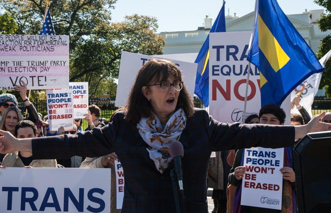 Mara Keisling, executive director of the National Center for Transgender Equality, speaks at a rally outside the White House Monday. Photo: Rudy K. Lawidjaja
