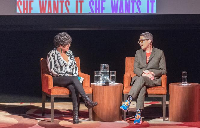 """Transparent"" creator and author Jill Soloway, right, was interviewed by Favianna Rodriguez at the Jewish Community Center of San Francisco. Photo: Jane Philomen Cleland"