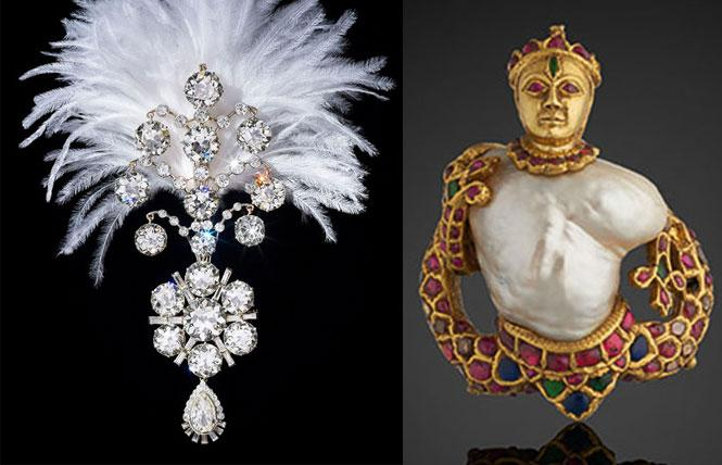 RIGHT: Turban ornament, India (1907, reworked ca. 1935). White gold and diamonds, the Al Thani Collection. Photo: Prudence Cuming Associates Ltd., courtesy FAMSF  LEFT: Pendant, India (ca. 1575-1625). Pearl, gold, diamonds, rubies, emeralds, sapphires, glass, enamel, and lacquer. Photo: Prudence Cuming Associates Ltd., courtesy FAMSF