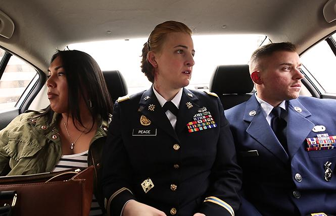 "Scene from directors Gabriel Silverman and Fiona Dawson's ""TransMilitary."" Photo: LogoTV"