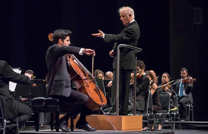 Conductor Daniel Barenboim led the West-Eastern Divan Orchestra, featuring cello soloist Kian Soltani, for Cal Performances. Photo: Manuel Vaca