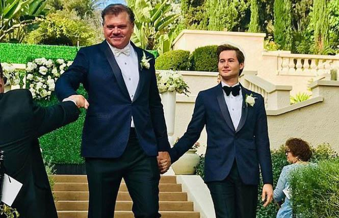 Former Dallas Cowboys linebacker Jeff Rohrer, left, married his partner, Joshua Ross, Sunday in Los Angeles. Photo: Courtesy Instagram