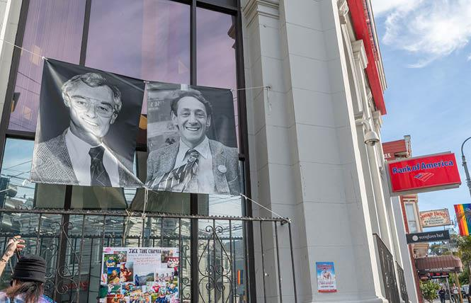 The Harvey Milk LGBTQ Democratic Club placed banners commemorating slain mayor George Moscone and gay supervisor Harvey Milk in the Castro. Shown here outside the Bank of America building, the banners now hang outside SoulCycle. Photo: Jane Philomen Cleland