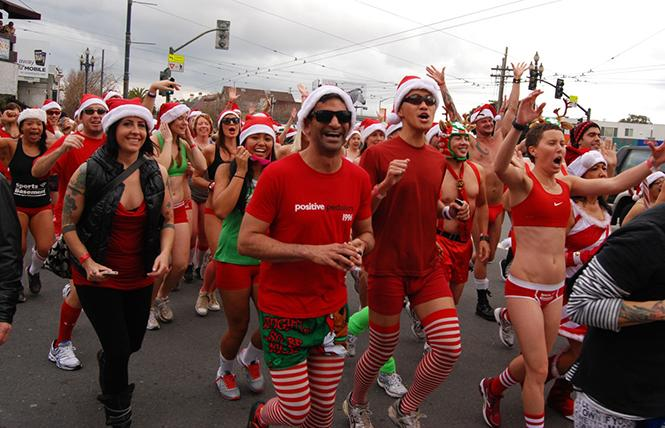 Santa Skivvies Run @ Castro District Sun 9 photo: Steven Underhill