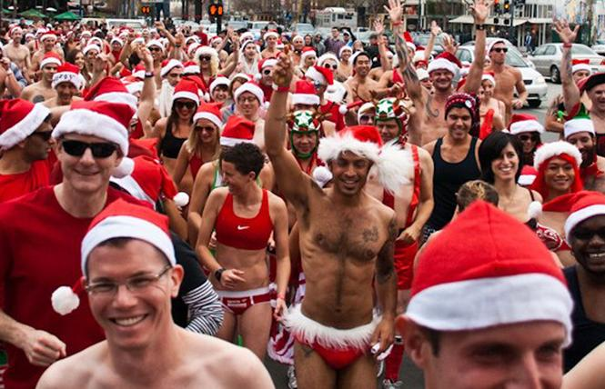 People don their holiday attire for the 2011 Santa Skivvies Run. Photo: Courtesy SFAF