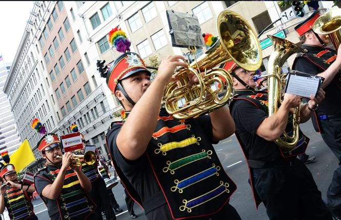 The San Francisco Lesbian/Gay Freedom Band marched in the 2016 Oakland Pride parade. Photo: Rick Gerharter