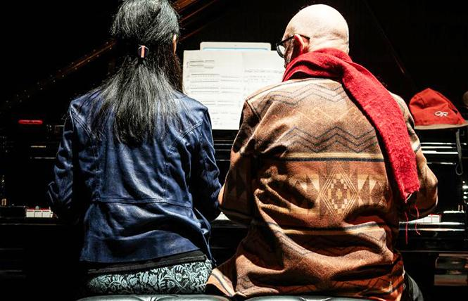 Pianist Gloria Cheng and composer Terry Riley play piano four hands, last Wednesday night at YBCA Forum. Photo: Ebbe Roe Yovino-Smith