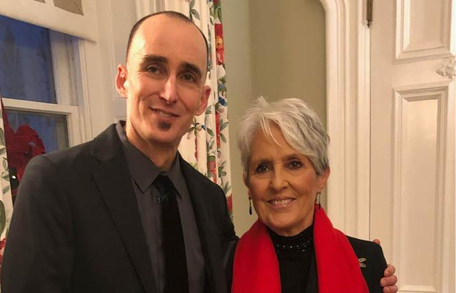 Daniel Zingale, shown here with Joan Baez at the Governor's Mansion December 4 as part of the California Hall of Fame festivities, will be a senior adviser for Governor-elect Gavin Newsom. Photo: Courtesy Facebook