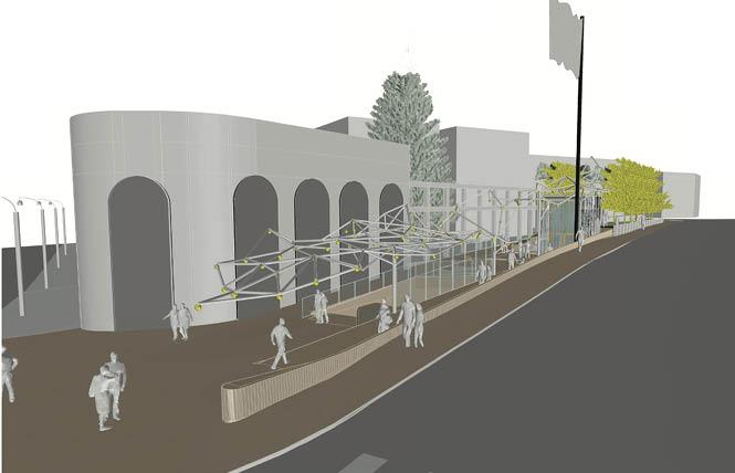 A new proposed structure for the Harvey Milk Plaza project would feature a canopy instead of the bleacher-like seating. Photo: Courtesy Perkins Eastman