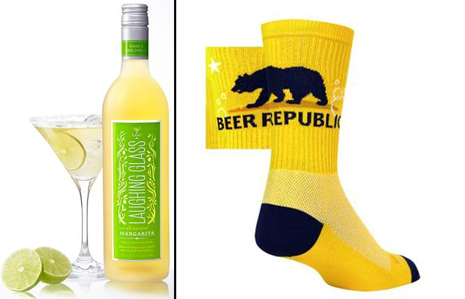 LEFT: Laughing Glass Margerita  RIGHT: Beer-themed socks