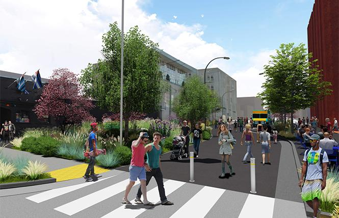 A rendering shows Eagle Plaza, which fronts the Eagle bar, left. Photo: Courtesy Place Lab