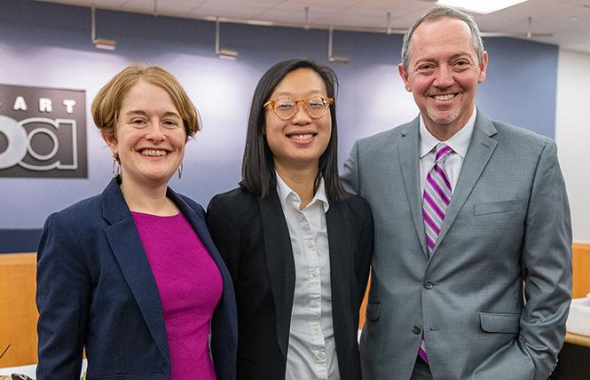 BART board directors Rebecca Saltzman, left, and Bevan Dufty, right, congratulated Janice Li at her swearing in ceremony December 13. Photo: Jane Philomen Cleland