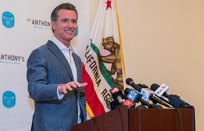 Governor-elect Gavin Newsom speaks to reporters after his victory in November. Photo: Jane Philomen Cleland