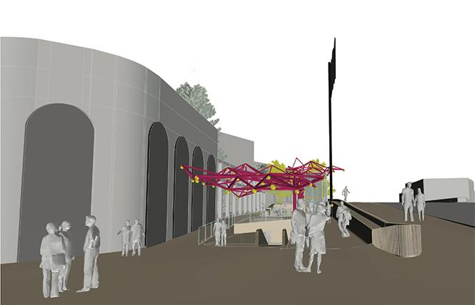 An amorphous canopy is part of the revised plan for Harvey Milk Plaza. Photo: Courtesy Perkins Eastman